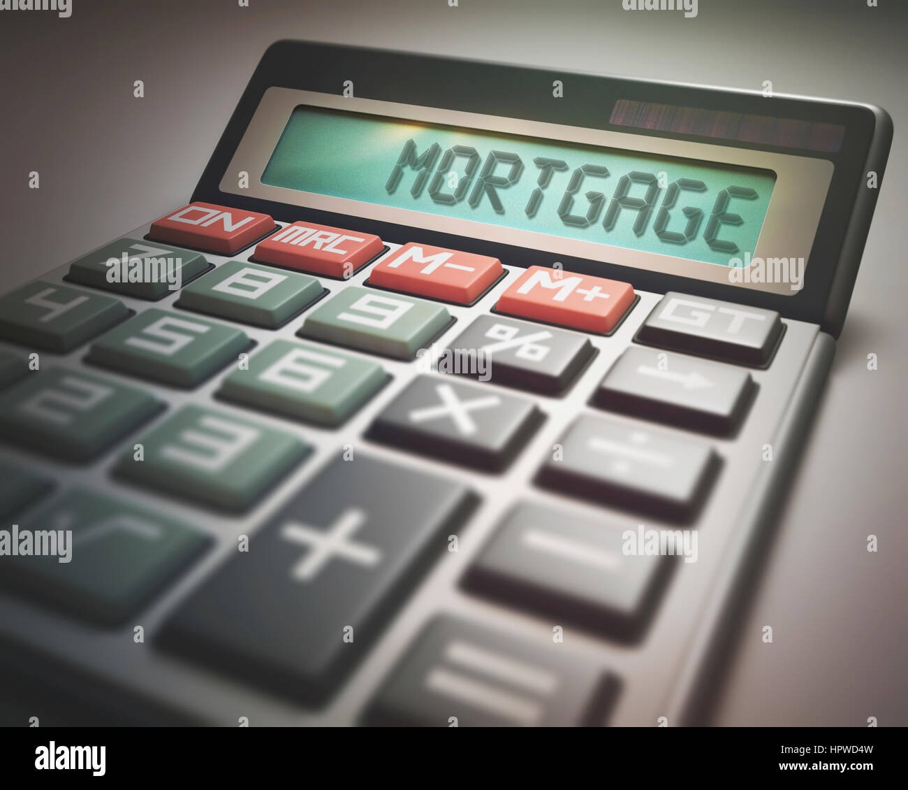 Calculator with the word mortgage, illustration. - Stock Image