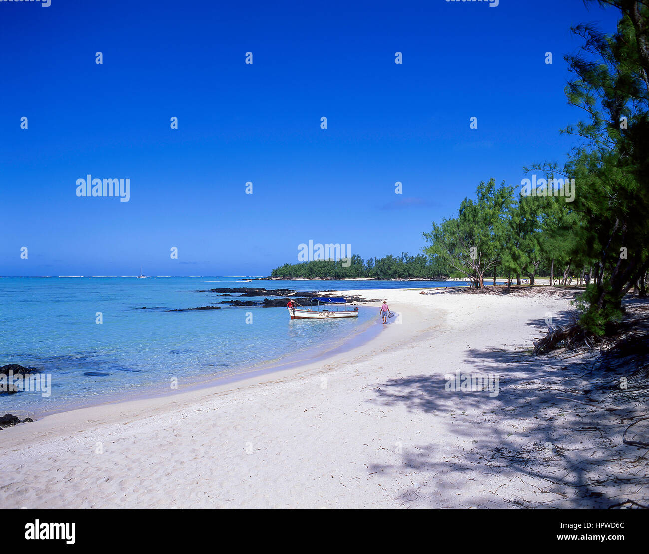 Ile Aux Cerfs Beach, Ile Aux Cerfs Island, Flacq, Republic of Mauritius Stock Photo