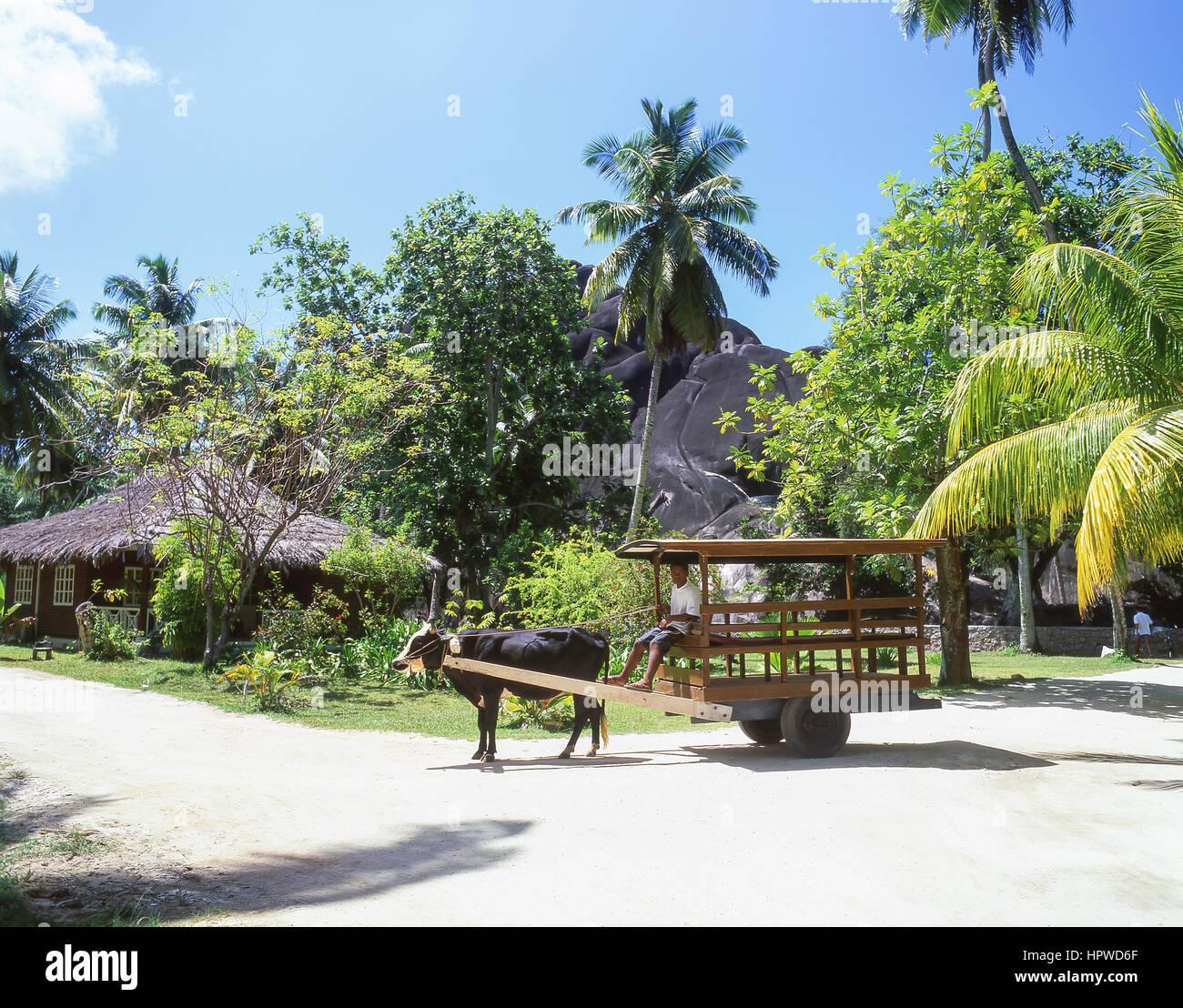 Bullock Cart, Anse Source D'Argent Beach, La Digue, Republic of Seychelles - Stock Image