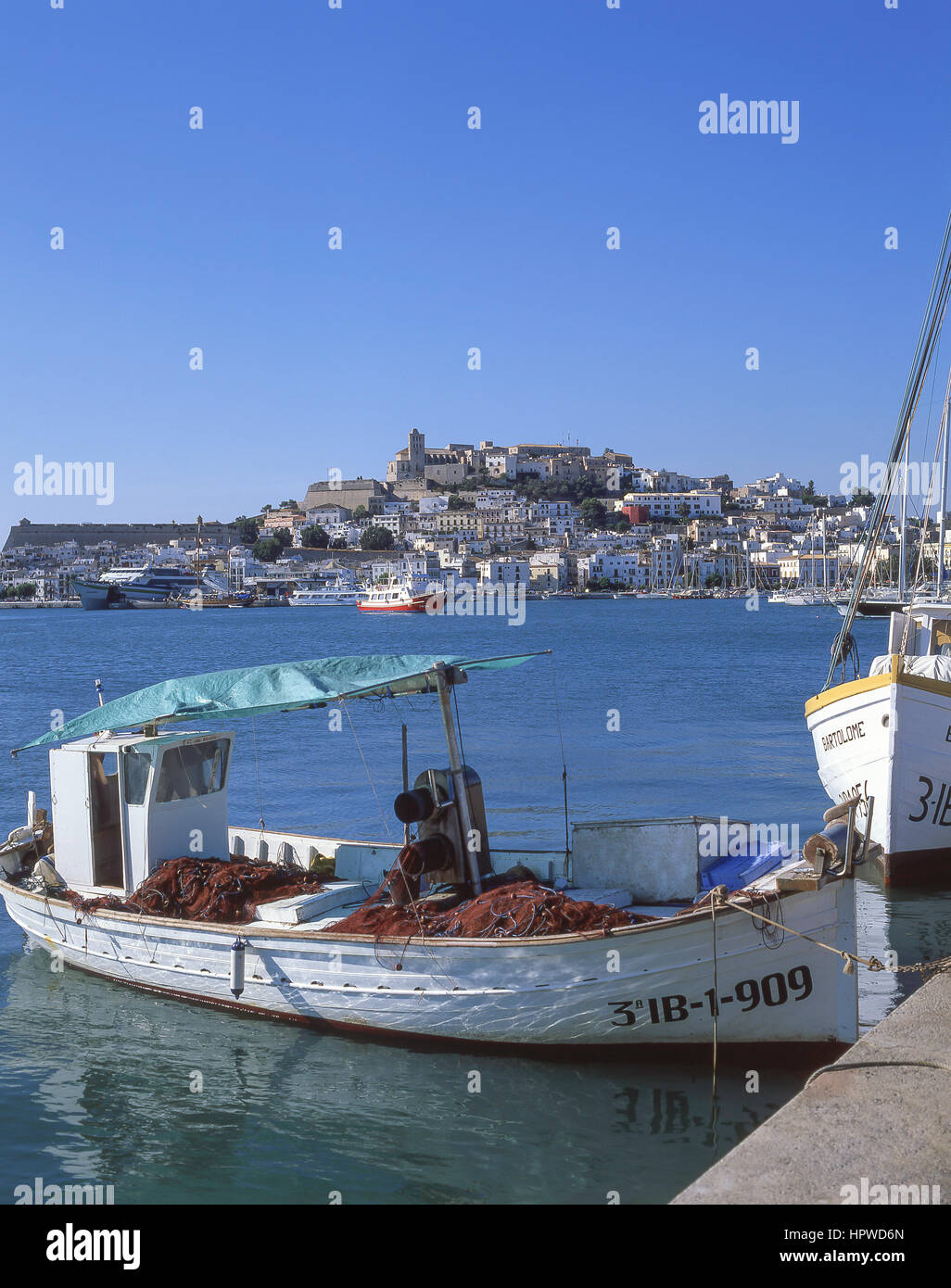 View of Old Town and Dalt Vila from Port, Eivissa, Ibiza, Balearic Islands, Spain - Stock Image