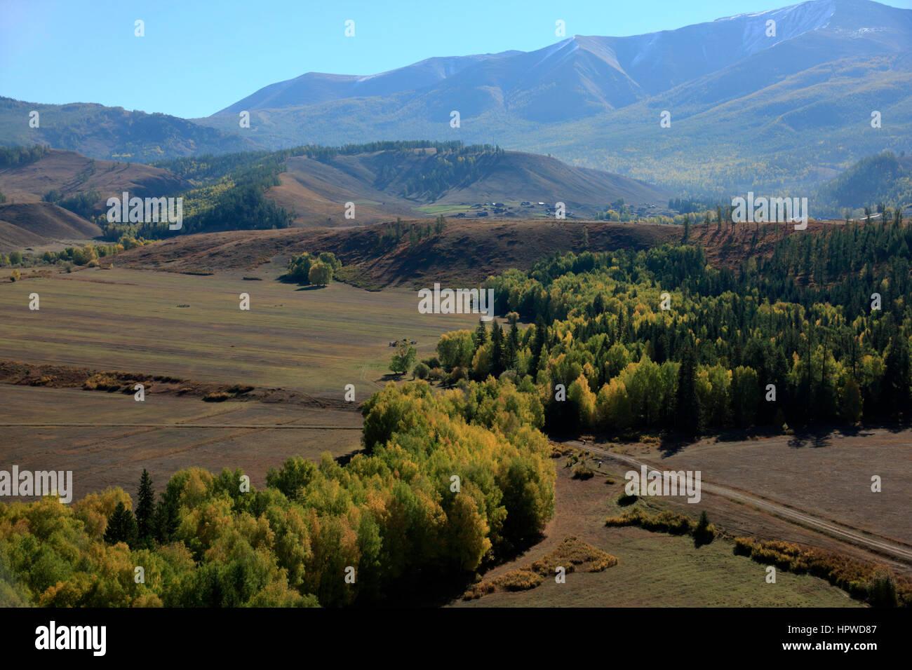 Valley near Burqin - Stock Image