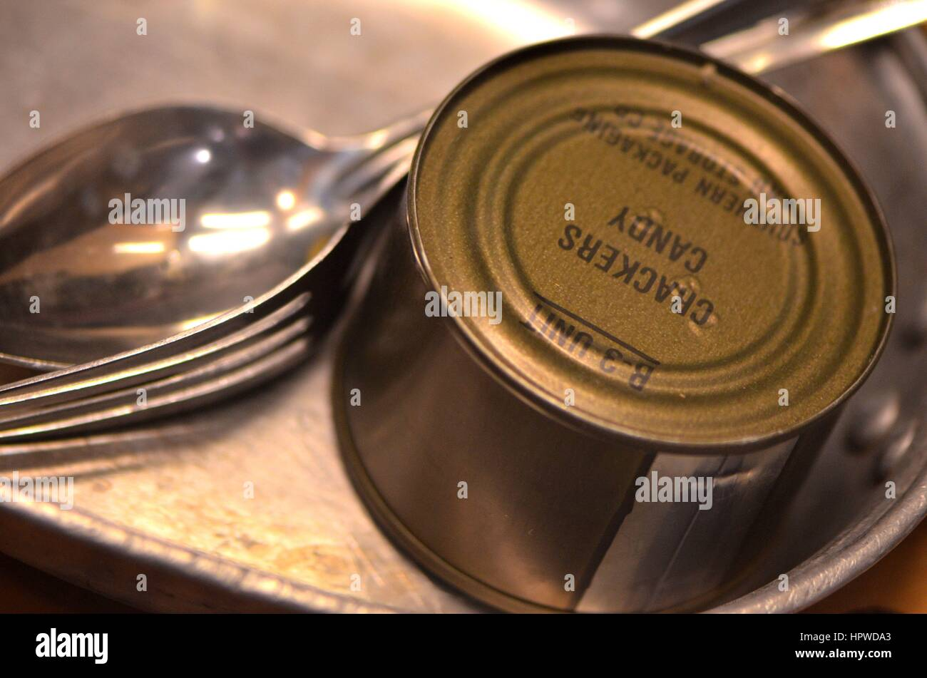 C-Rations with Mess Kit - Stock Image