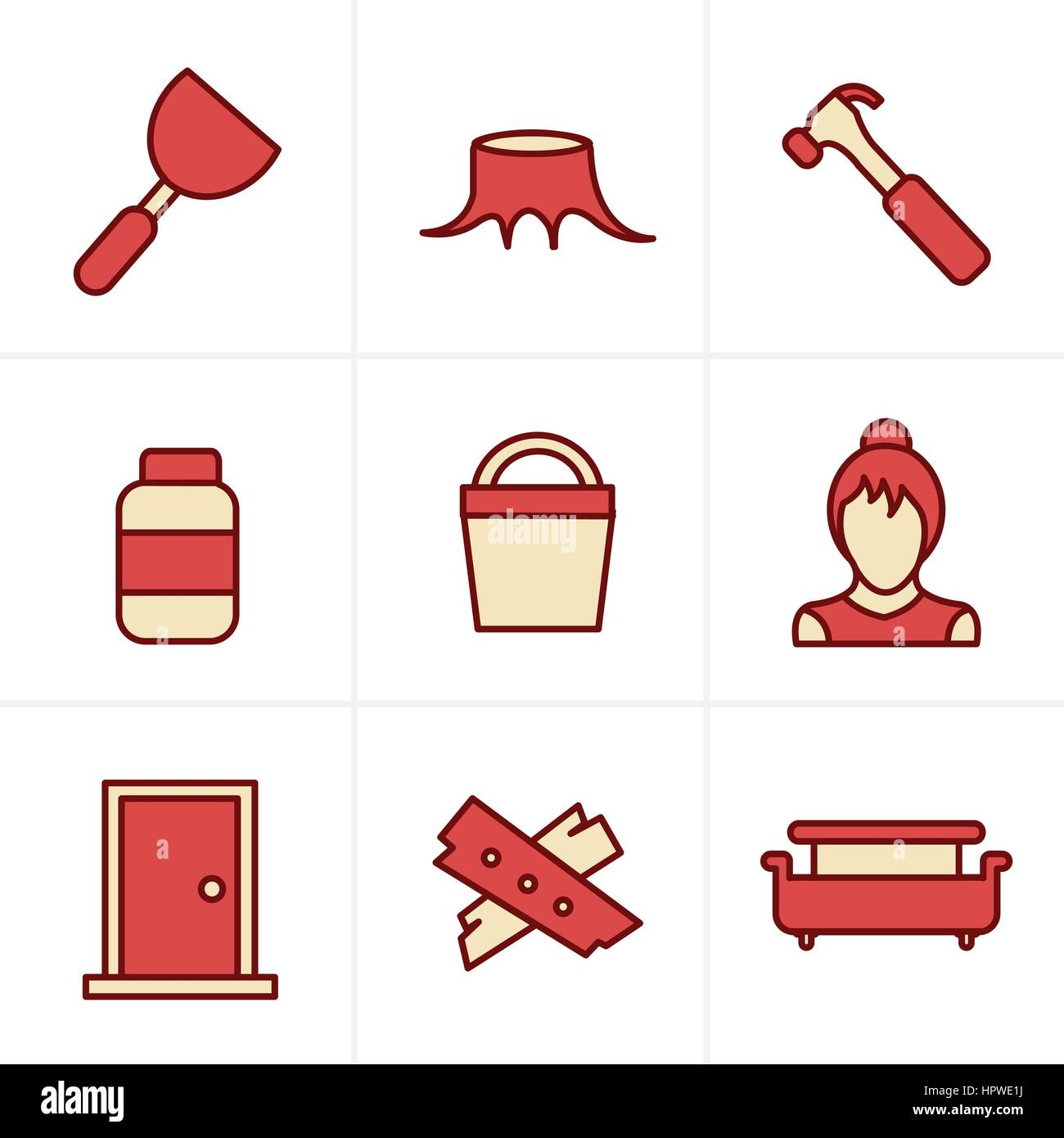 Icons Style  Icons set carpentry - Stock Vector