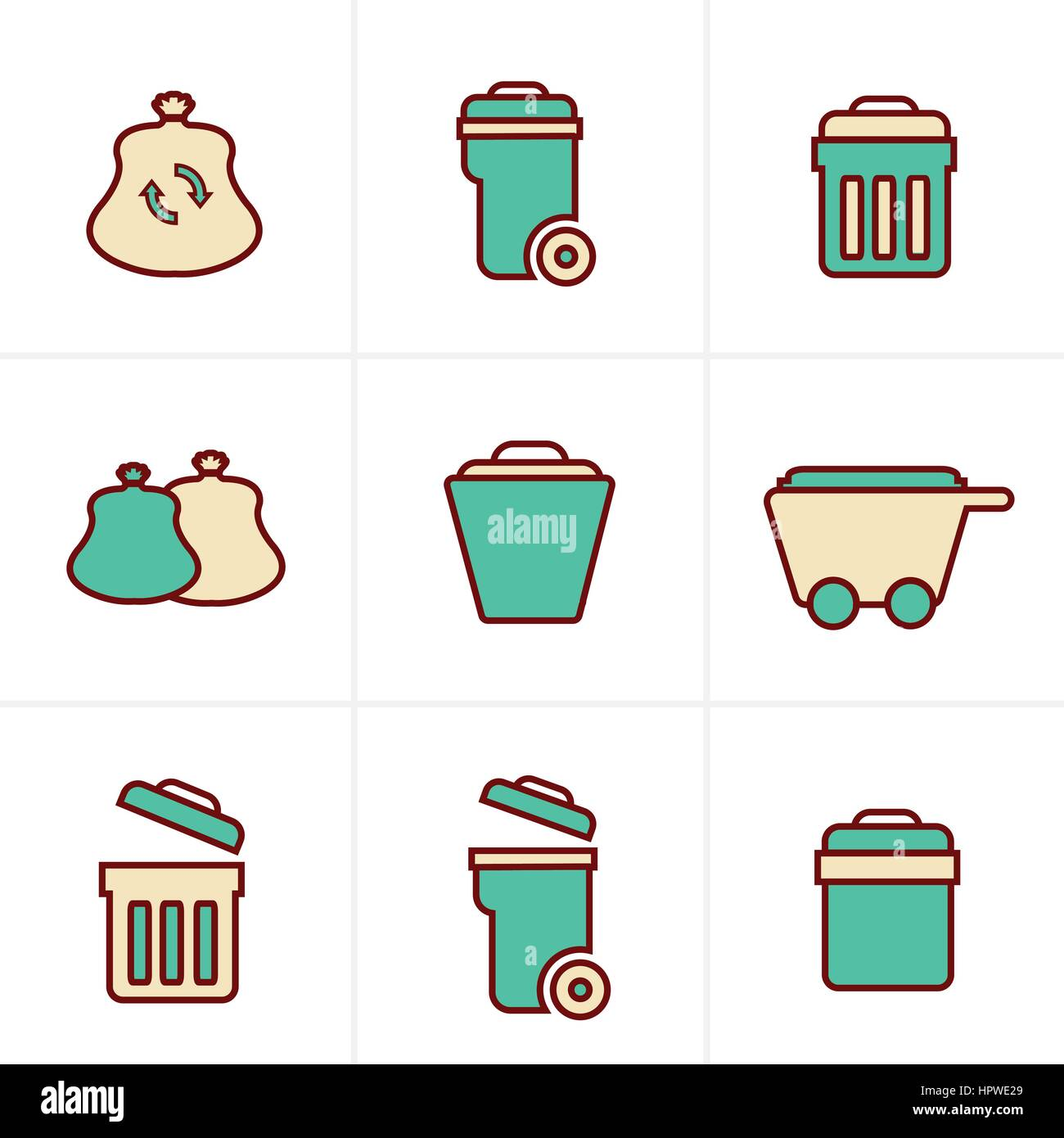 Icons Style Icons Style  Garbage Icons - Stock Vector