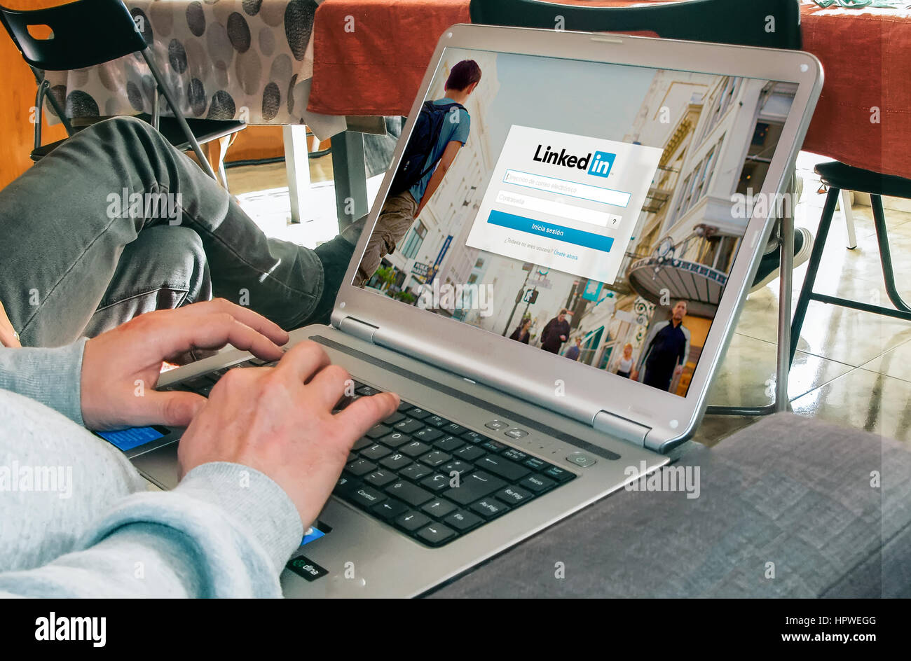 LinkedIn login page in a laptop screen. - Stock Image