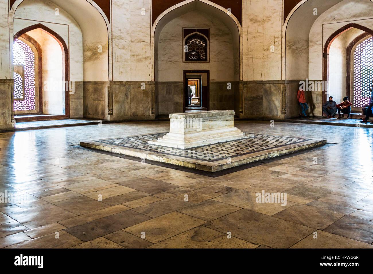 Burials place of Mughal Emperor Humayun, father of Great Akbar at Humayun's Tomb, Delhi - Stock Image