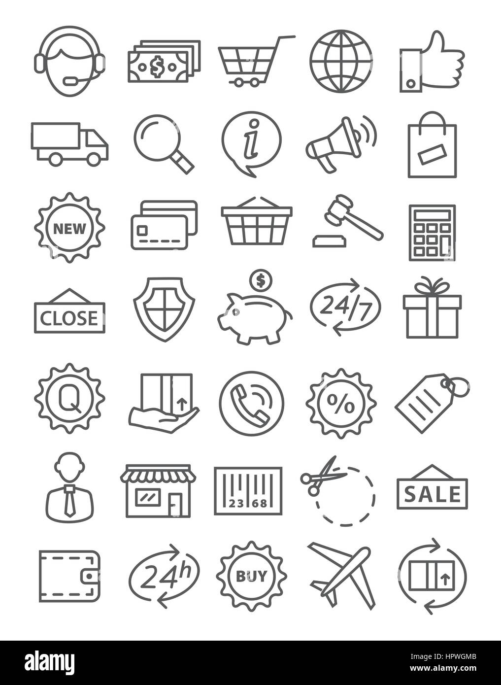 Shopping line icons - Stock Image
