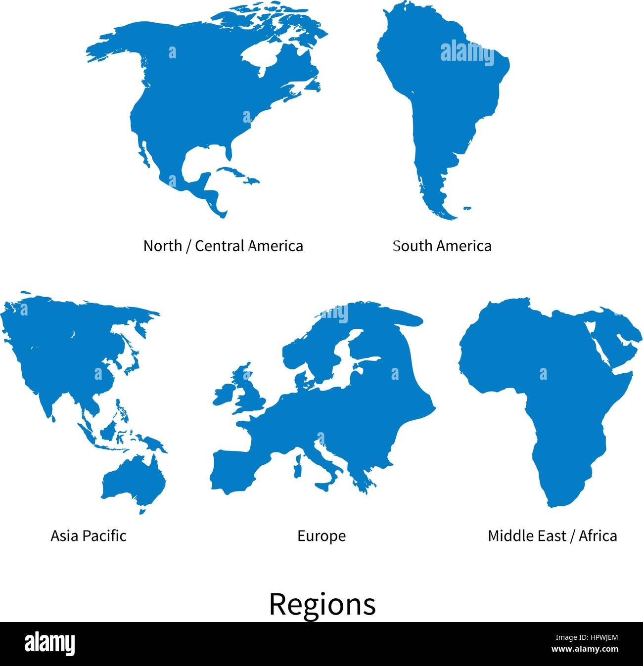 detailed vector map of north central america asia pacific europe south america middle and east africa regions on white