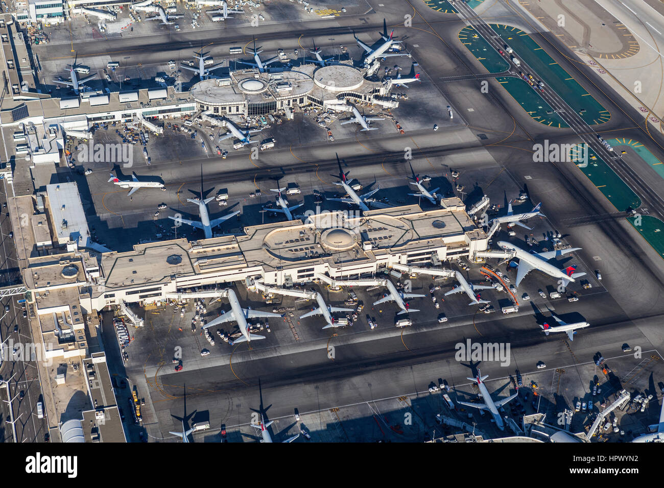 Los Angeles, California, USA - August 16, 2016:  Aerial view of Delta Airlines terminals at LAX. - Stock Image