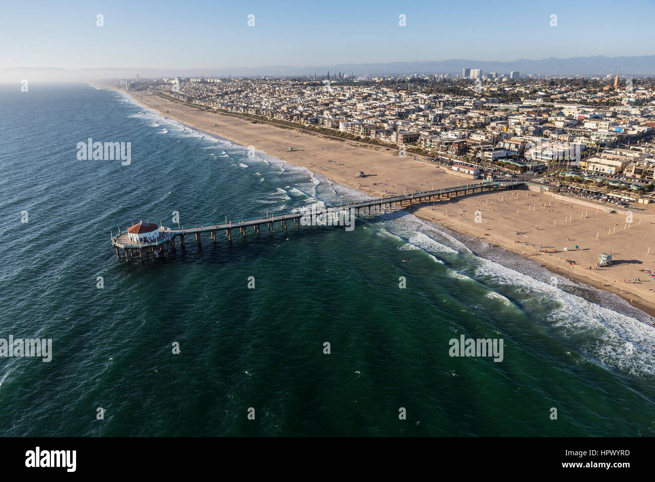 Manhattan Beach, California, USA - August 16, 2016:  Aerial view of Manhattan Beach Pier near Los Angeles in Southern - Stock Image