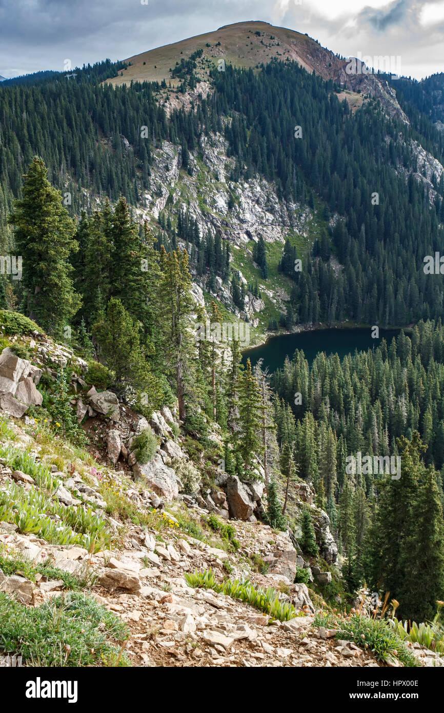 Deception Peak and Santa Fe Lake, Santa Fe National Forest, near Santa Fe, New Mexico USA - Stock Image