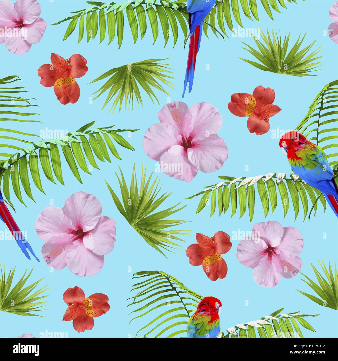 Tropical Seamless Pattern Print With Exotic Summer Nature Decoration