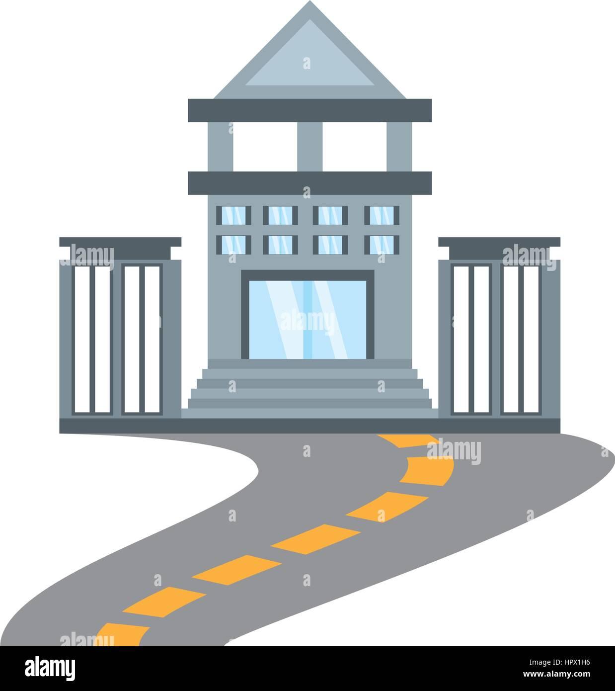 building bank commerce road - Stock Vector