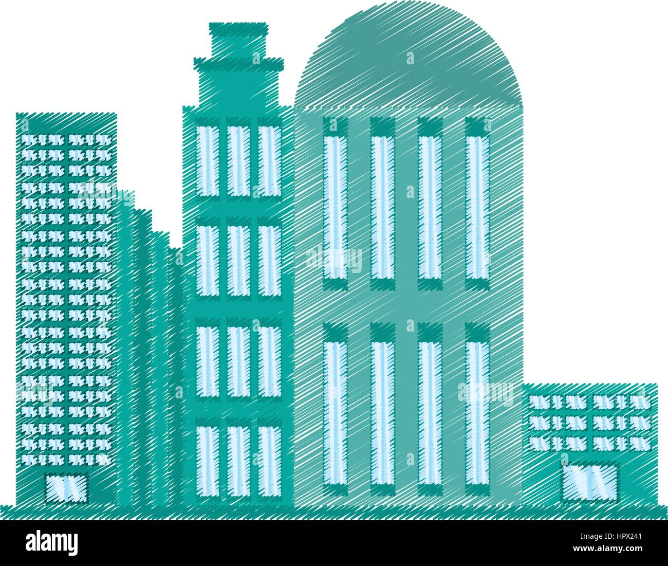 drawing building architecture modern Stock Vector