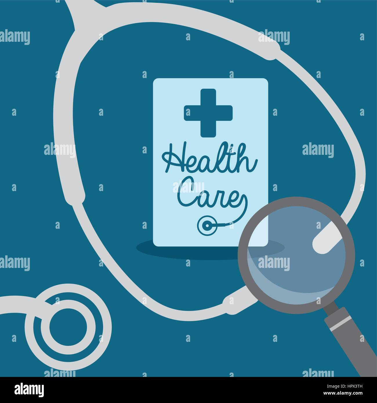 stethoscope search health care - Stock Vector
