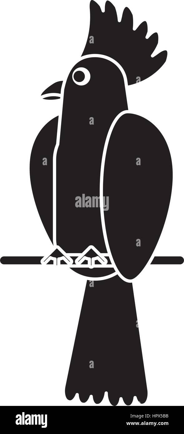 cockatoo bird tropical pictogram - Stock Vector