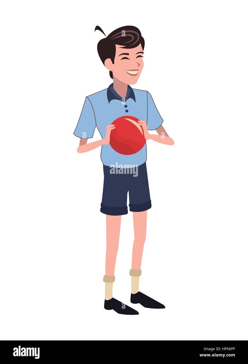 boy red ball family member - Stock Image