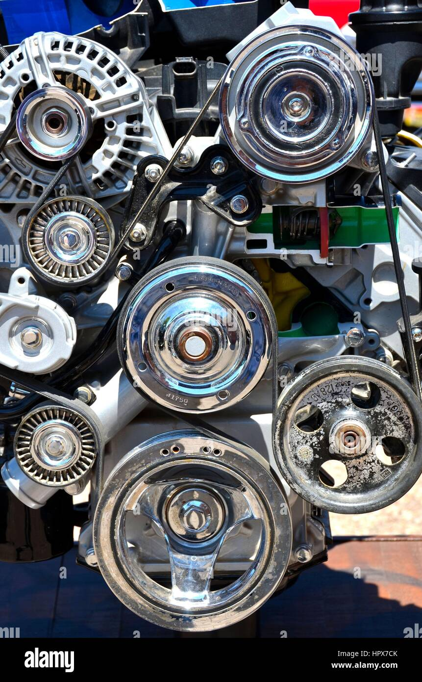 High Performance Car Engine Parts Stock Photo