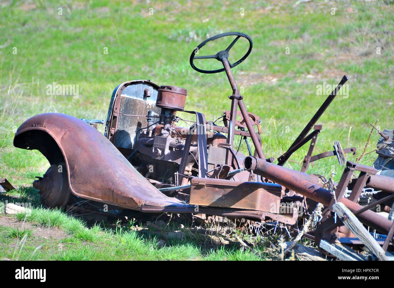 Old Rusted Junk Car - Stock Image