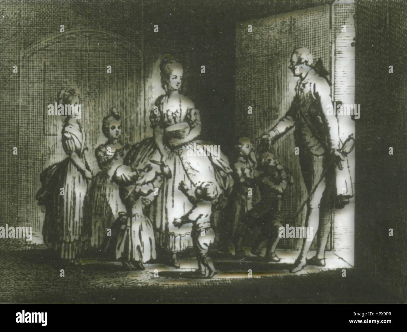 The Sorrows of Young Werther, copper engraving by D. Chodowiecki Stock Photo