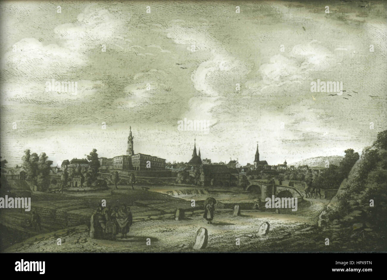 View of Weimar from east, Germany 1778 - Stock Image