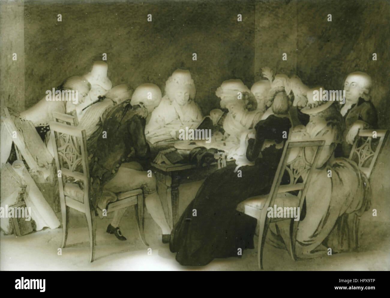 Reception in honor of duchess Anna Amalia, Germany 1795 - Stock Image