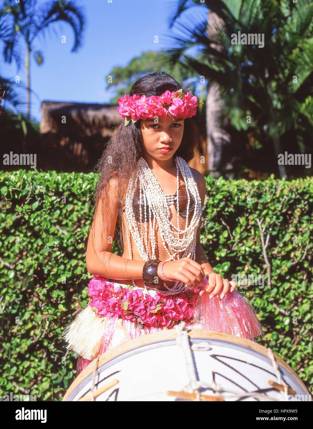 Young female Hawaiian dancer, Kodak Hula Show, Honolulu, Oahu, Hawaii, United States of America - Stock Image
