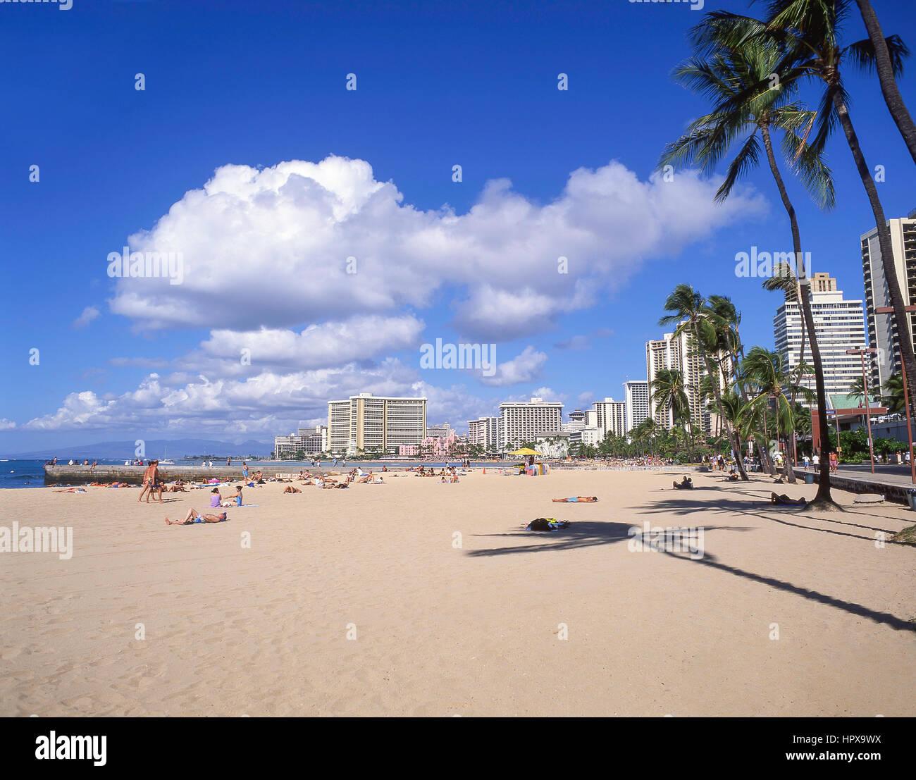 Waikiki Beach, Honolulu, Oahu, Hawaii, United States of America - Stock Image