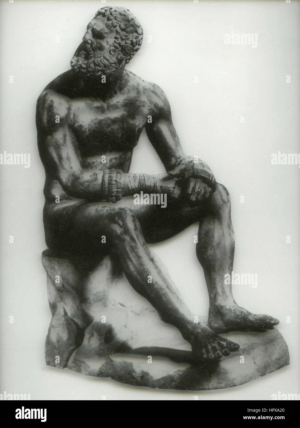 Bronze statue of a boxer, Term Museum, Rome, Italy - Stock Image