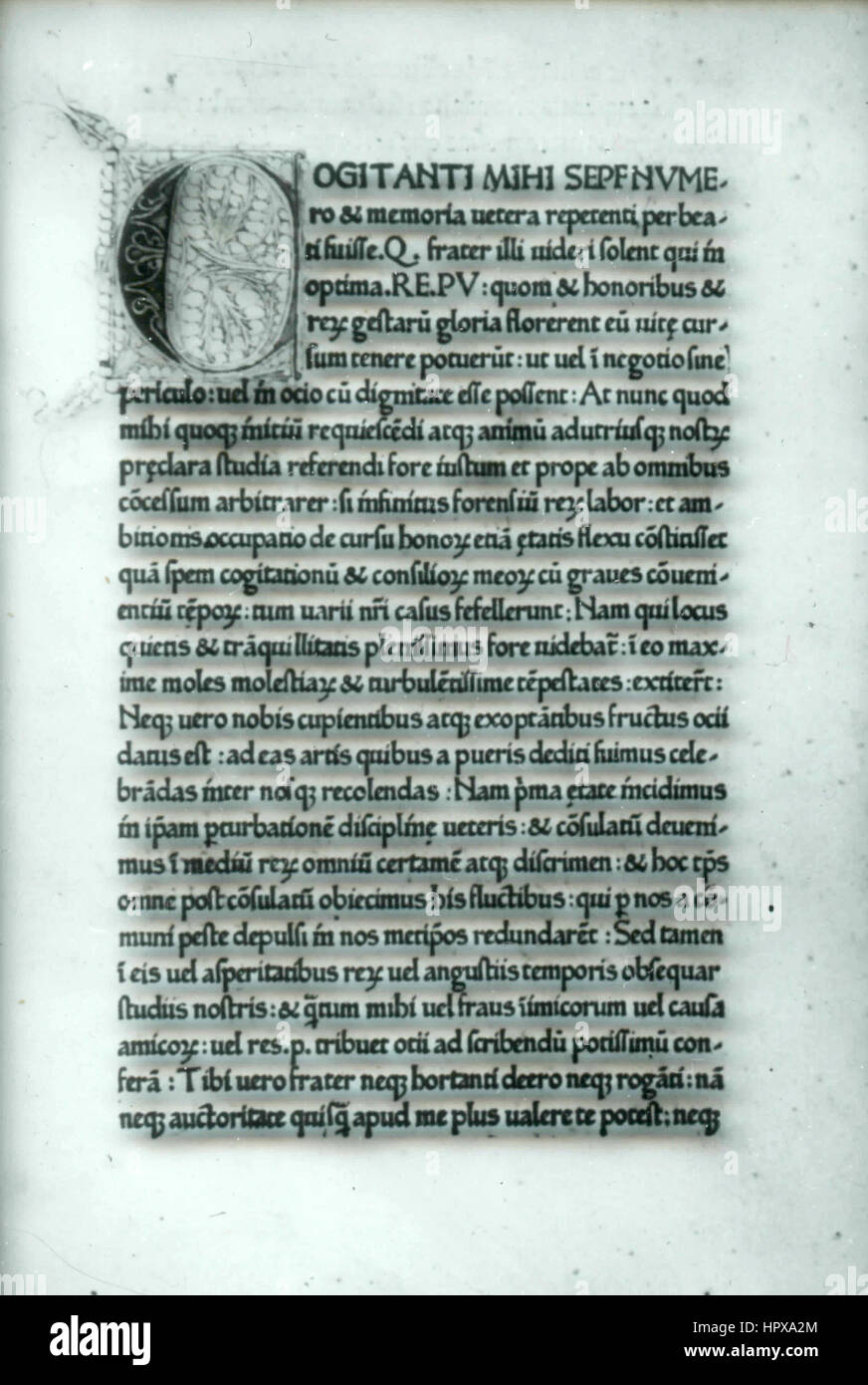 Page of an old book written in Latin, Italy - Stock Image