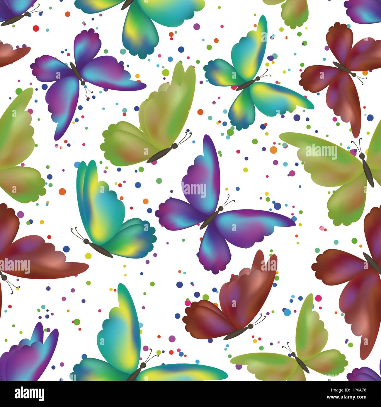 Seamless Pattern Colorful Butterflies On Abstract Background