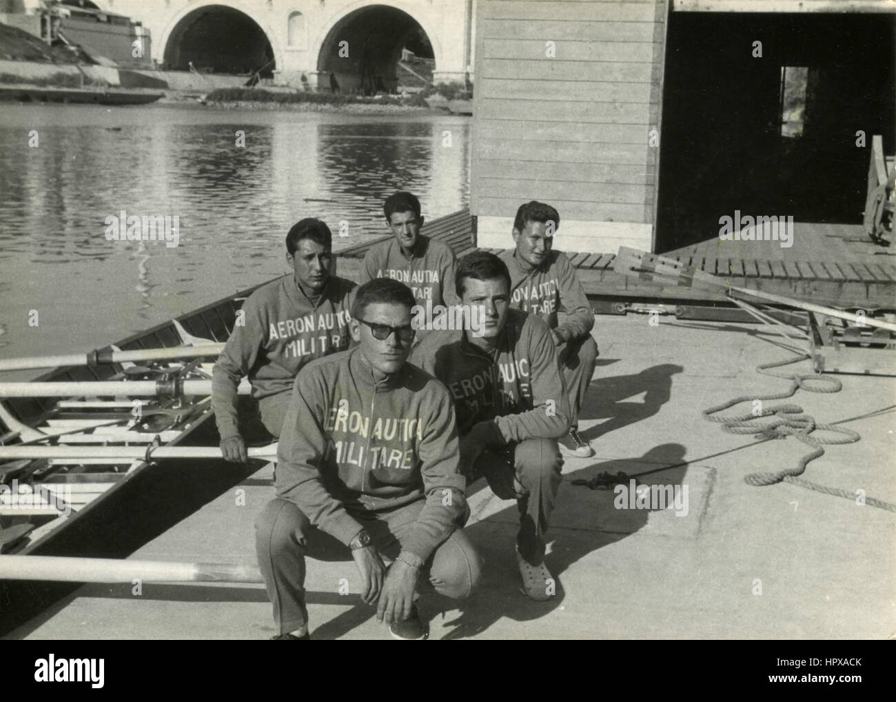 Team of rowers of Italian Aeronautics, Rome, Italy - Stock Image