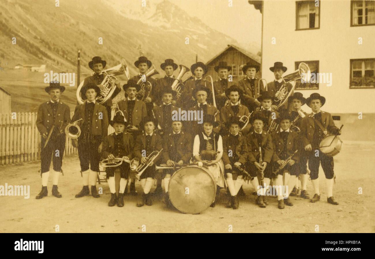 Folkloristic musical band, Schruns, Austria - Stock Image