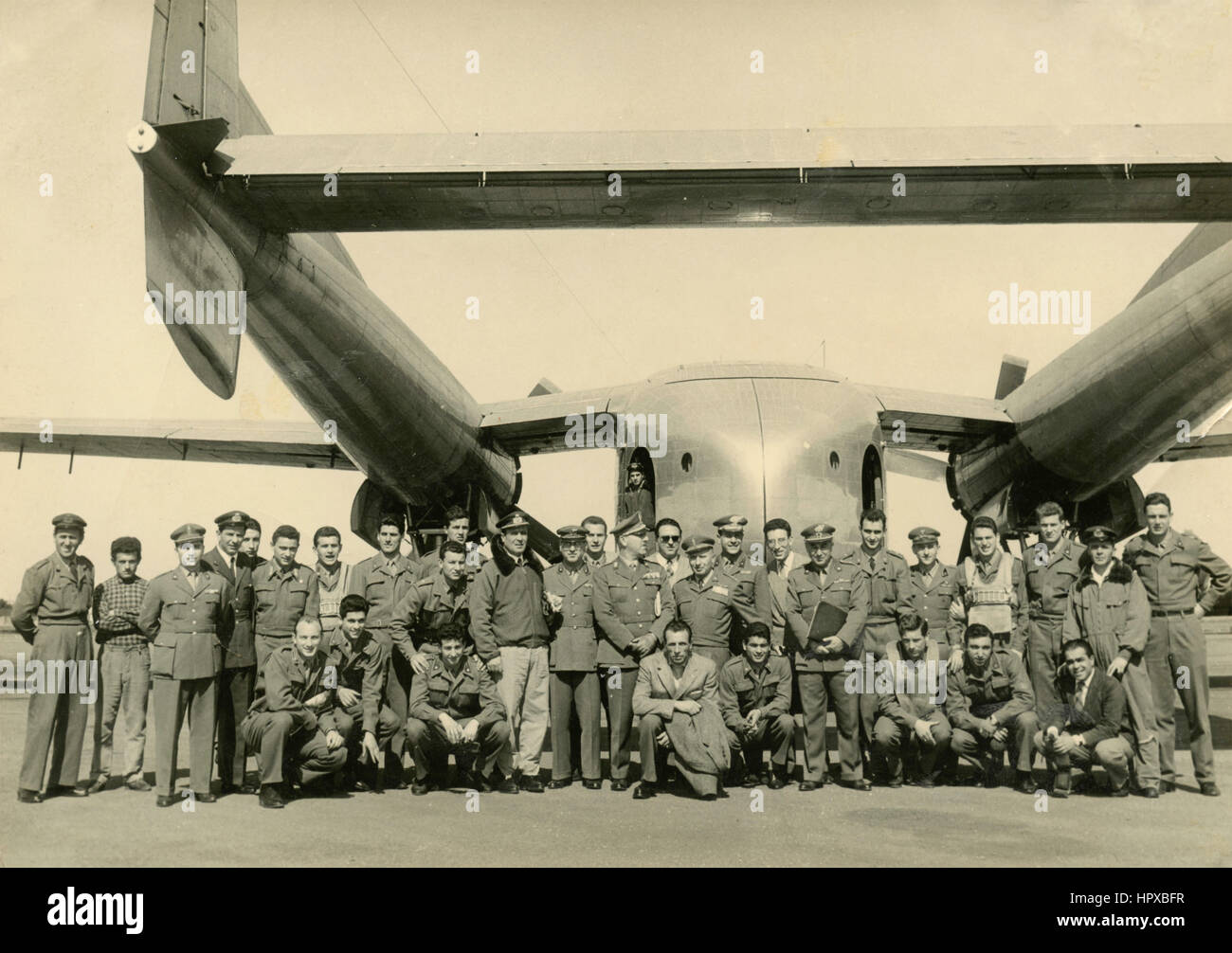 Italian Aeronautics personnel with a special airplane - Stock Image