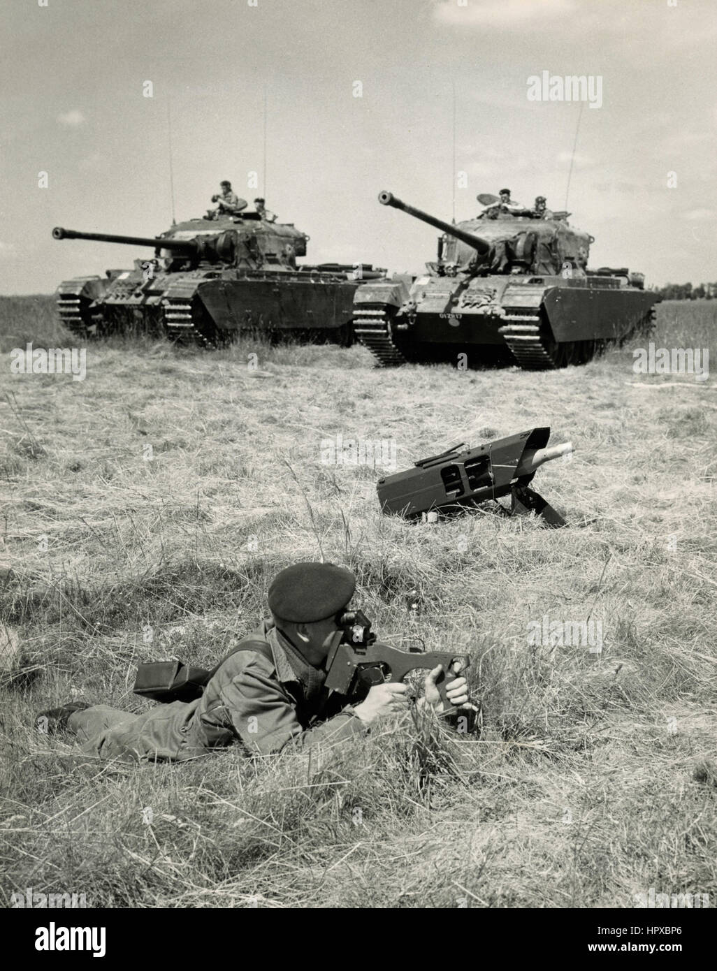 British infantry with tanks, UK - Stock Image