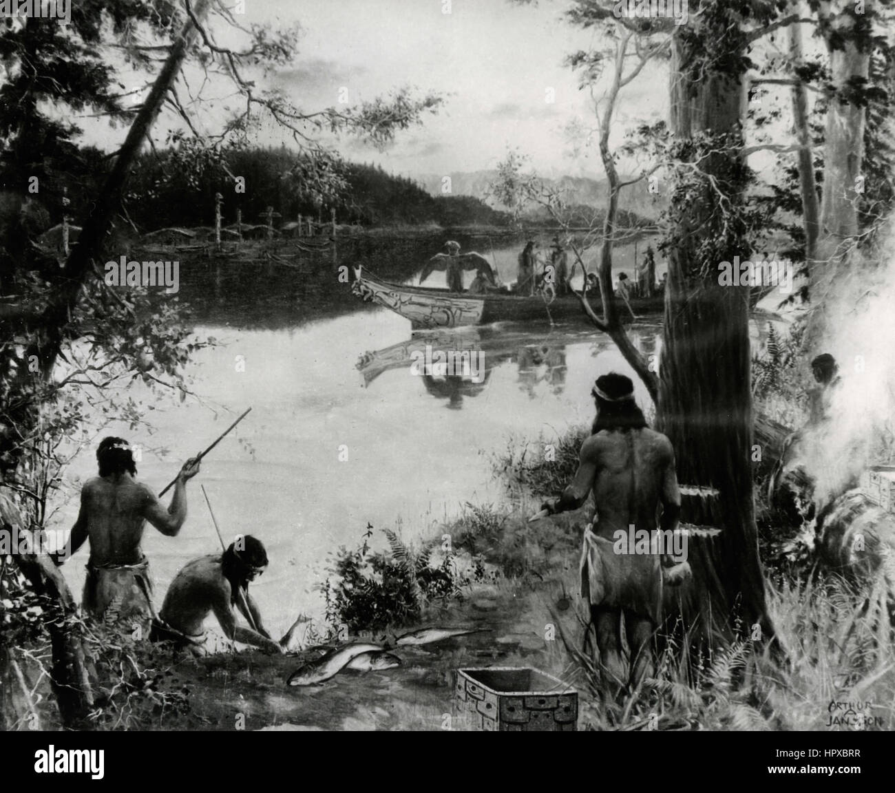 Native American Indian along the river, painting by Arthur Jansson - Stock Image