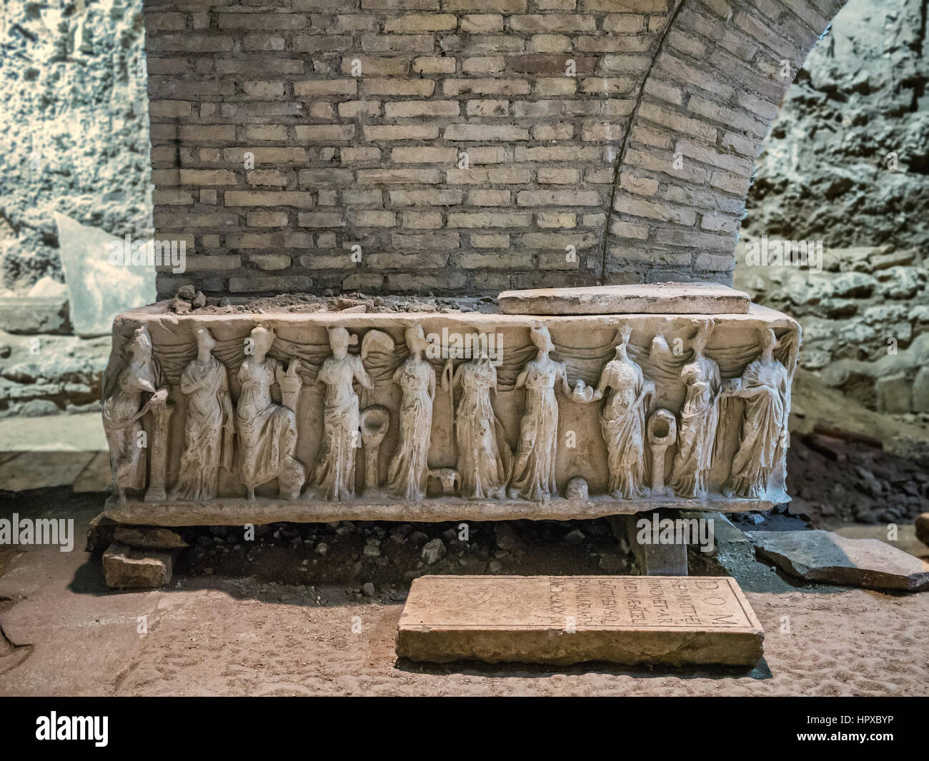 Early 300 ad christianity church under the Crisogono cathedral in Rome, Italy - Stock Image