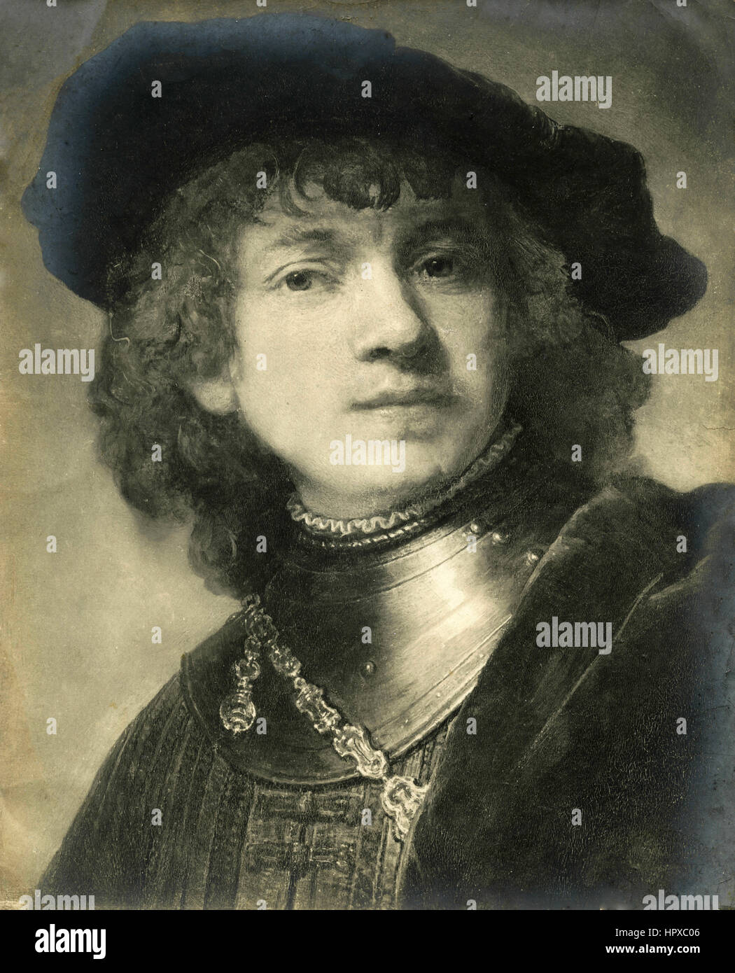 Rembrandt self-portrait - Stock Image