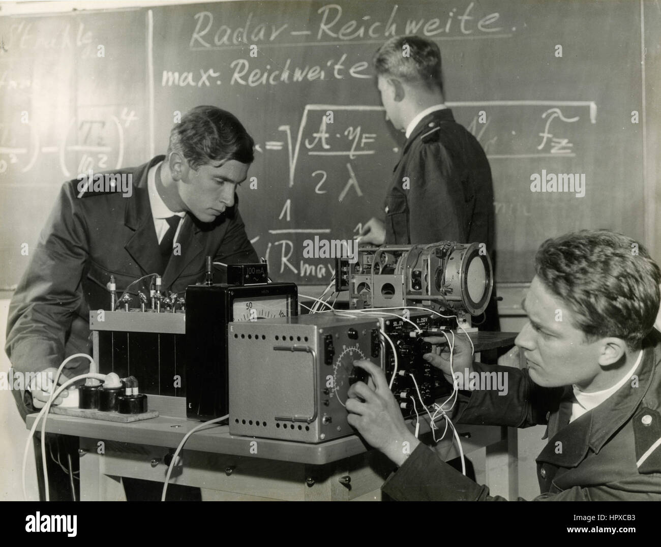 Military teaching at electronic devices, Bonn, Germany - Stock Image