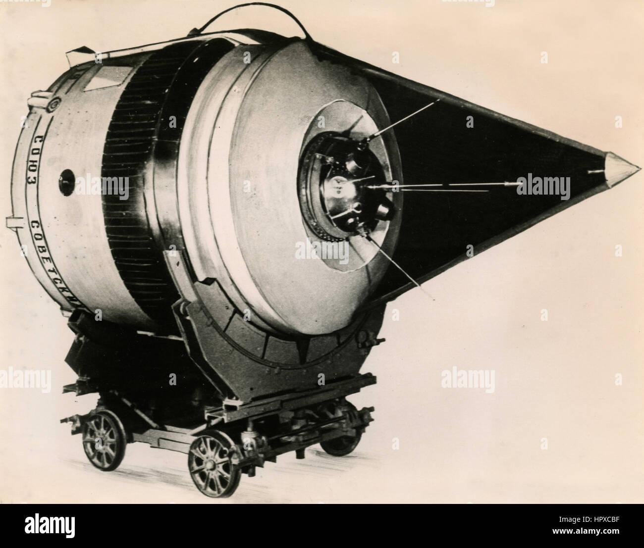 Last stage model of cosmic rocket, USSR 1959 - Stock Image