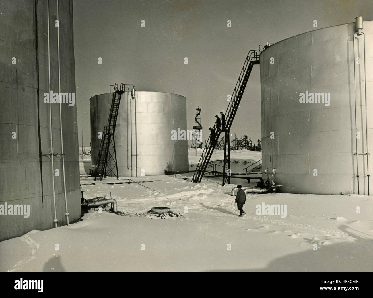Oil containers Kalendo, Sakhalin, USSR - Stock Image