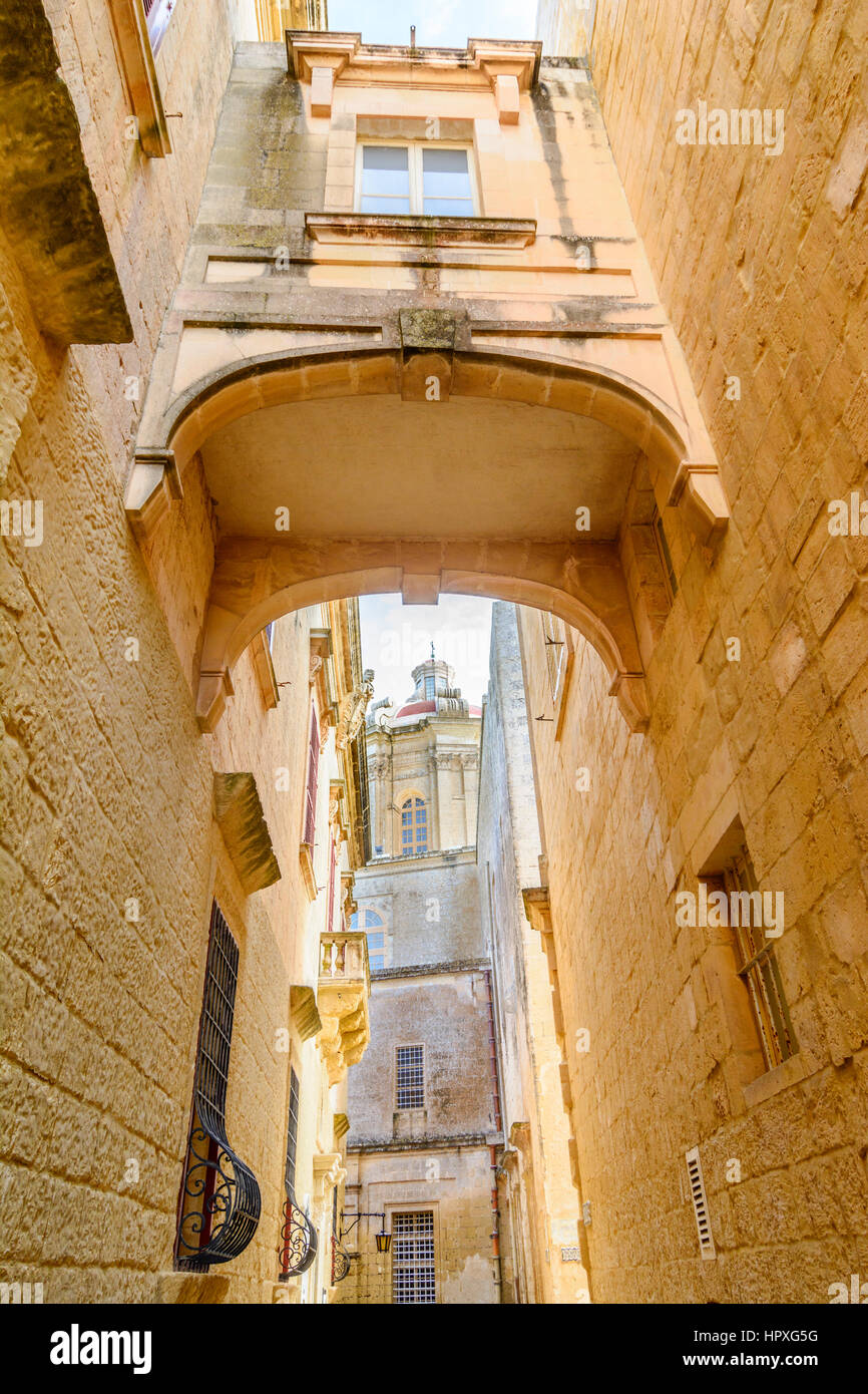 Narrow street of the old Mdina. - Stock Image
