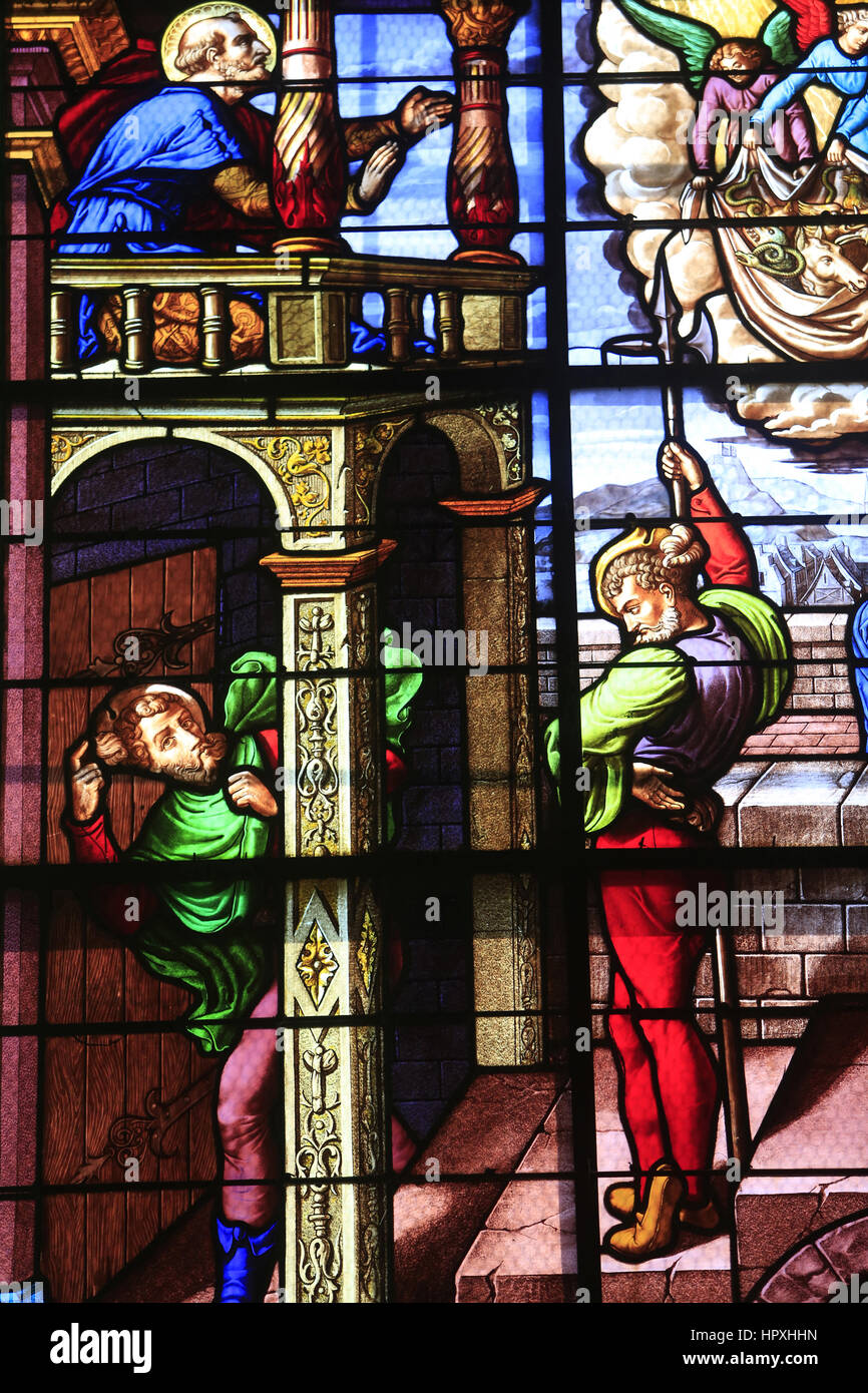 Vision of St. Peter. Church of St. Peter. Toucy. Vision de Saint-Pierre. Eglise Saint-Pierre. Toucy. - Stock Image