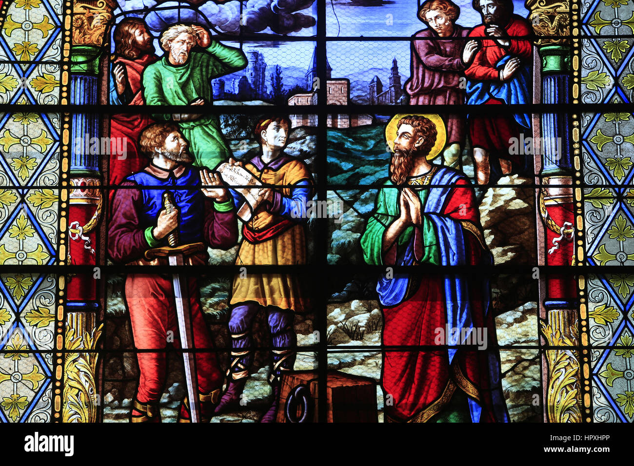 Martyrdom of St. Paul. Church of St. Peter. Toucy. Martyre de Saint-Paul. Eglise Saint-Pierre. Toucy. - Stock Image