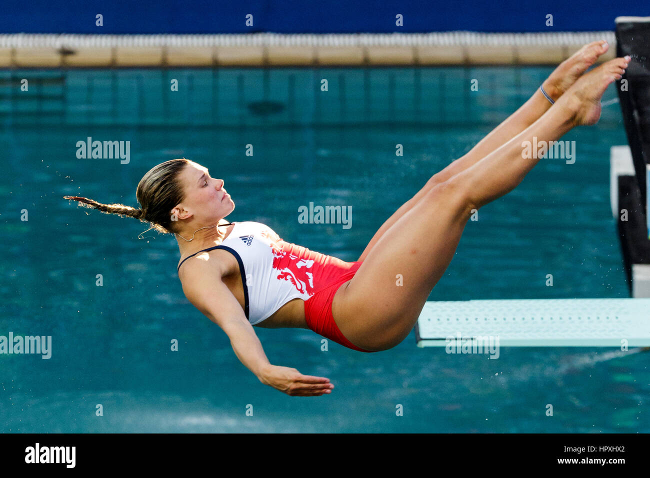 Rio de Janeiro, Brazil. 14 August 2016 Grace Reid (GBR) competes in the Women Diving Springboard 3m final at the - Stock Image