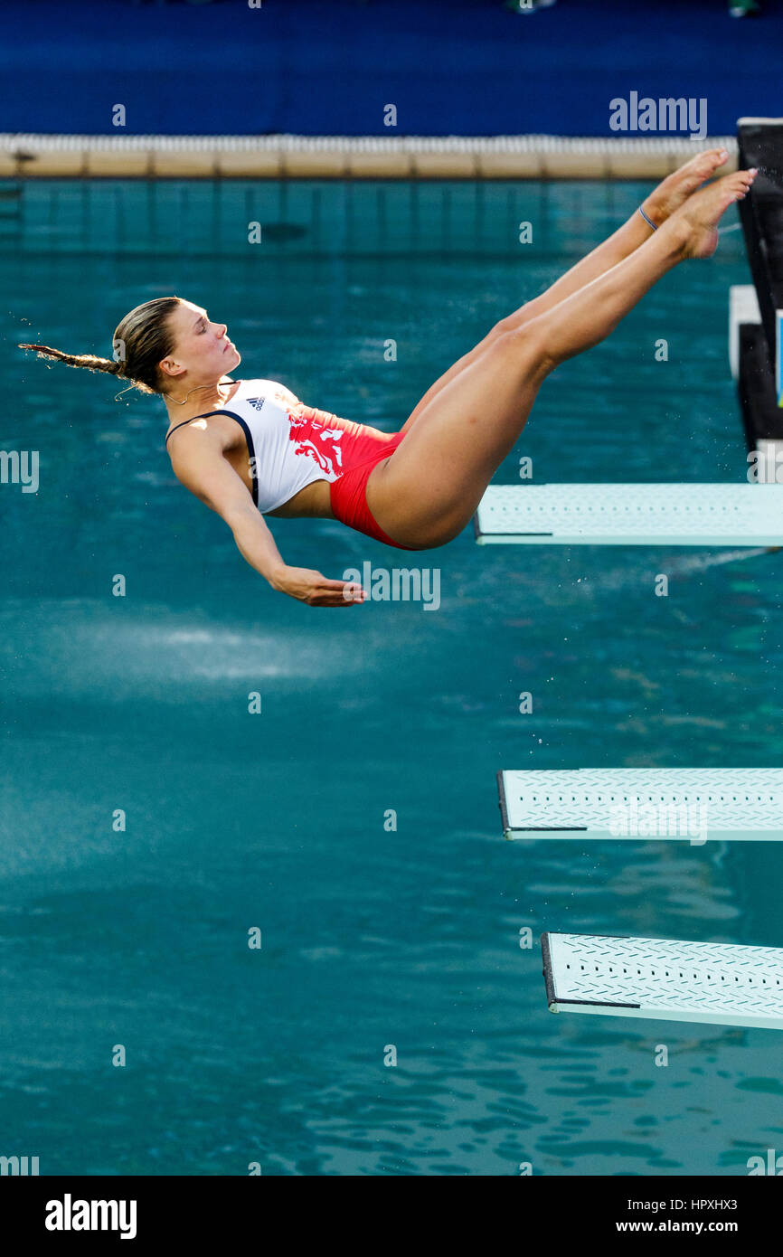 Rio de Janeiro, Brazil. 14 August 2016 Grace Reid (GBR) competes in the Women Diving Springboard 3m final at the Stock Photo