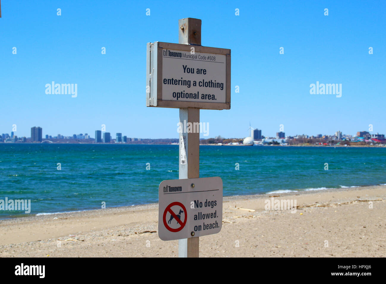 Hanlan's Point Beach at Onatario Lake, clothing optional area - Stock Image