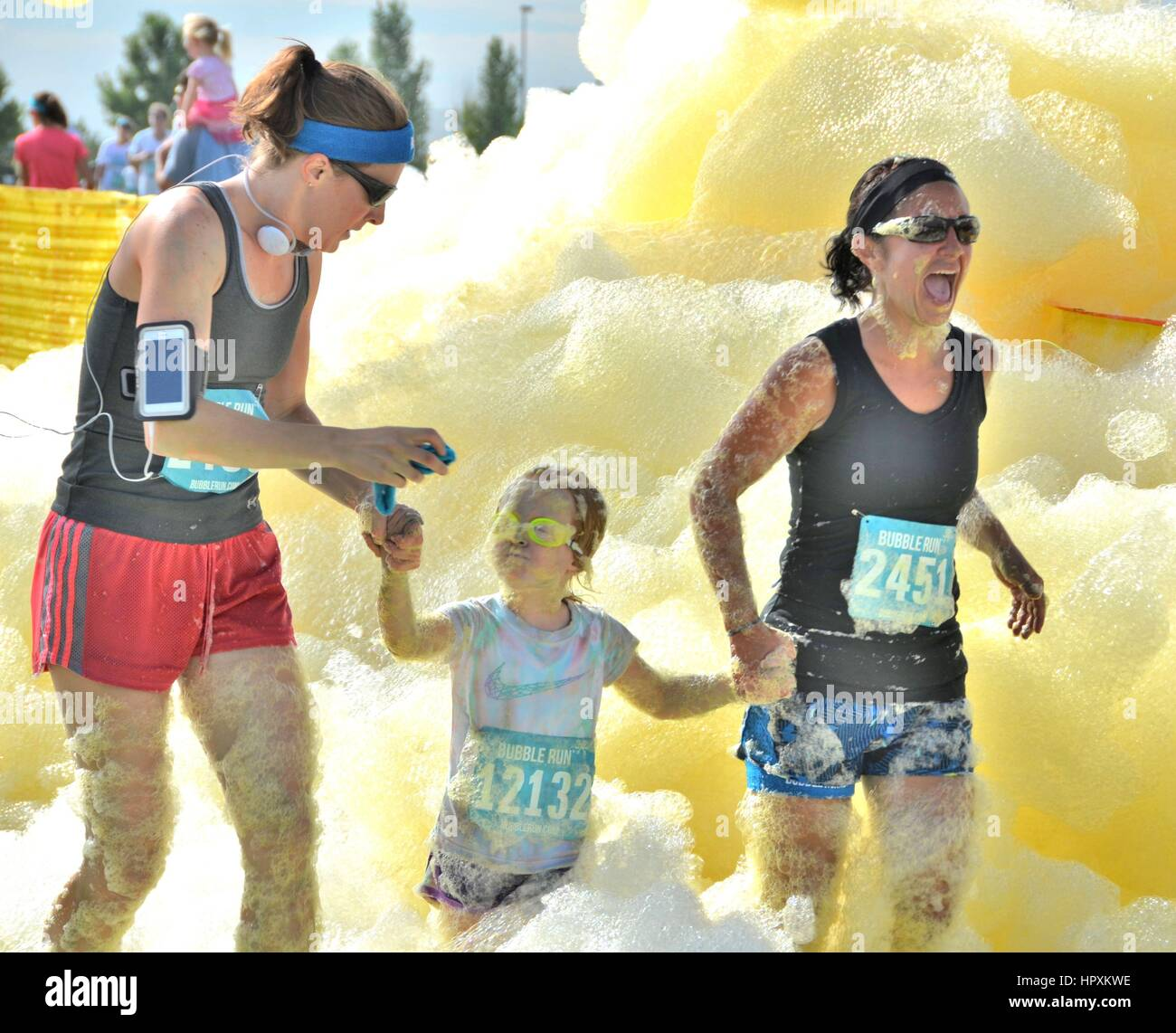 Bubble Run Fundraiser - Stock Image
