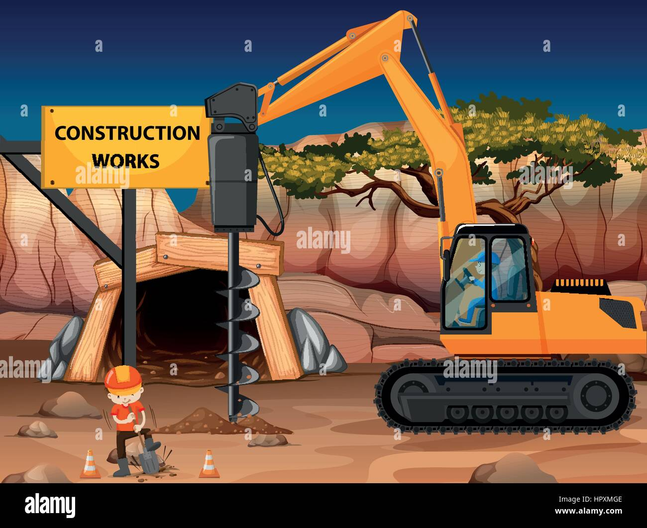 Construction work at the mine with core drill illustration - Stock Vector