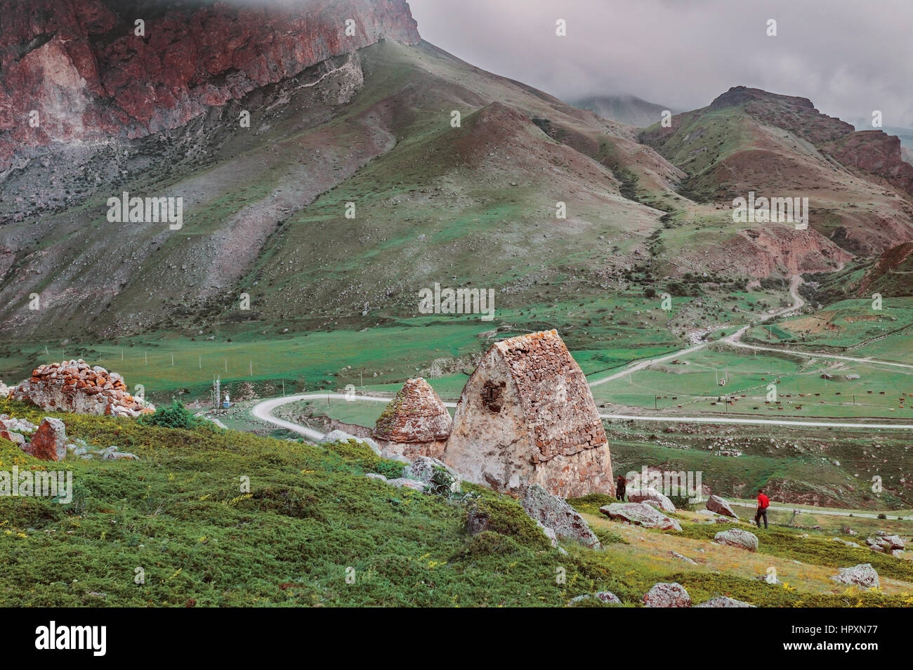 The medieval cemetery of ancient Alans. Caucasus, Russia. - Stock Image